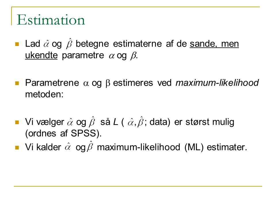 Estimation Lad og betegne estimaterne af de sande, men ukendte parametre a og b. Parametrene a og b estimeres ved maximum-likelihood metoden: