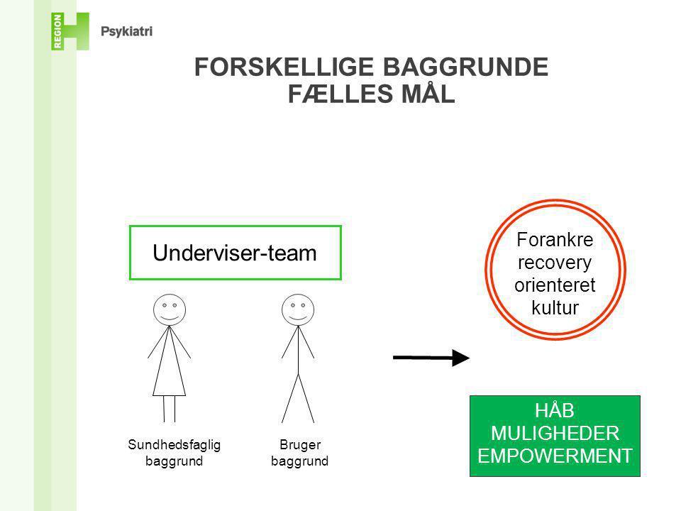 FORSKELLIGE BAGGRUNDE FÆLLES MÅL