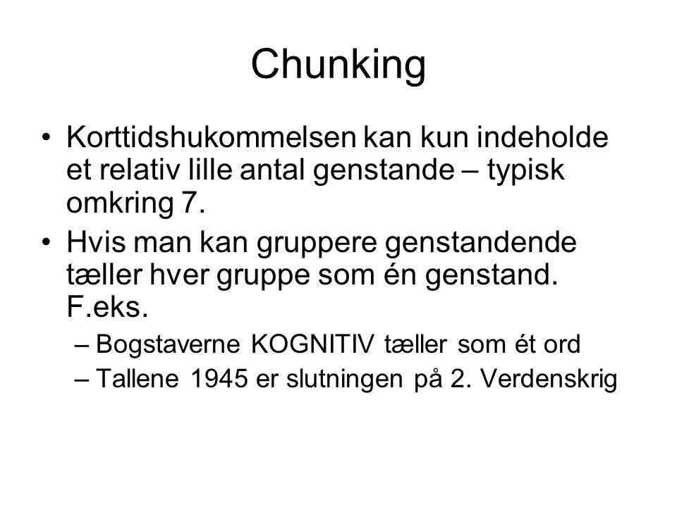 Chunking Korttidshukommelsen kan kun indeholde et relativ lille antal genstande – typisk omkring 7.