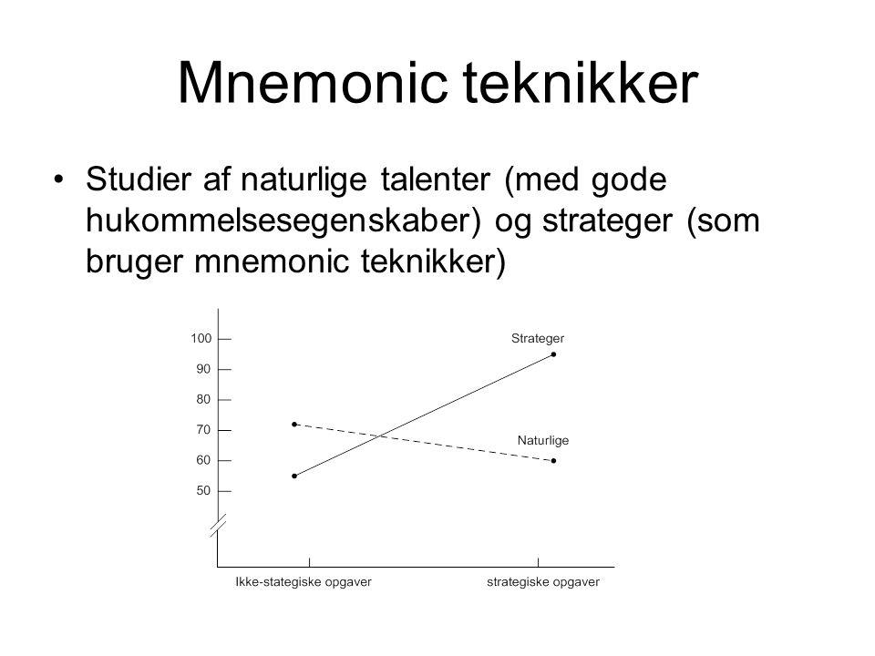 Mnemonic teknikker Studier af naturlige talenter (med gode hukommelsesegenskaber) og strateger (som bruger mnemonic teknikker)