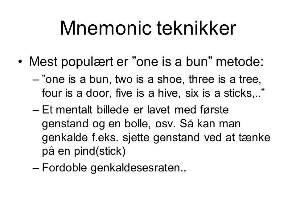 Mnemonic teknikker Mest populært er one is a bun metode: