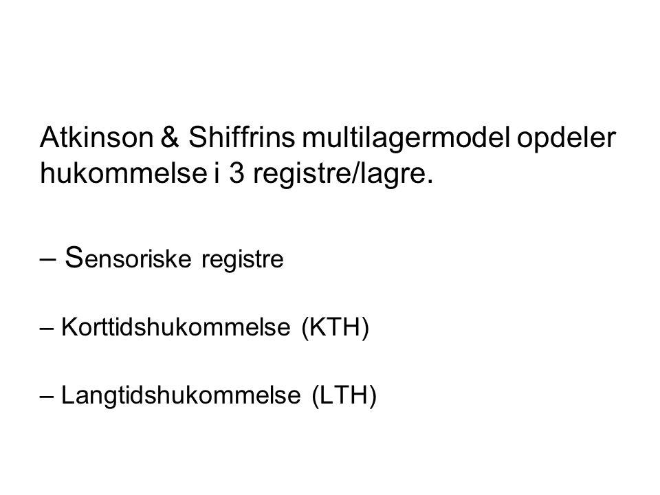 Atkinson & Shiffrins multilagermodel opdeler hukommelse i 3 registre/lagre.