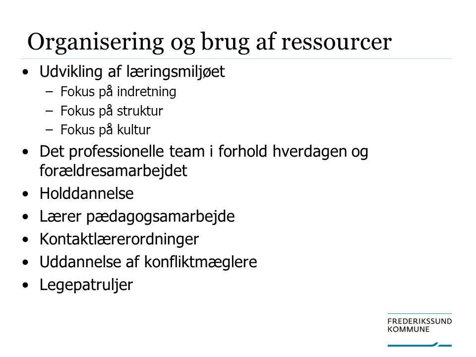 Organisering og brug af ressourcer