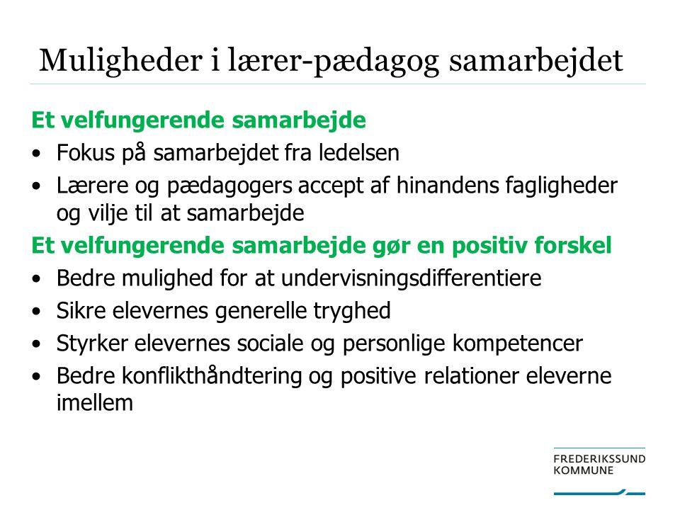 Muligheder i lærer-pædagog samarbejdet