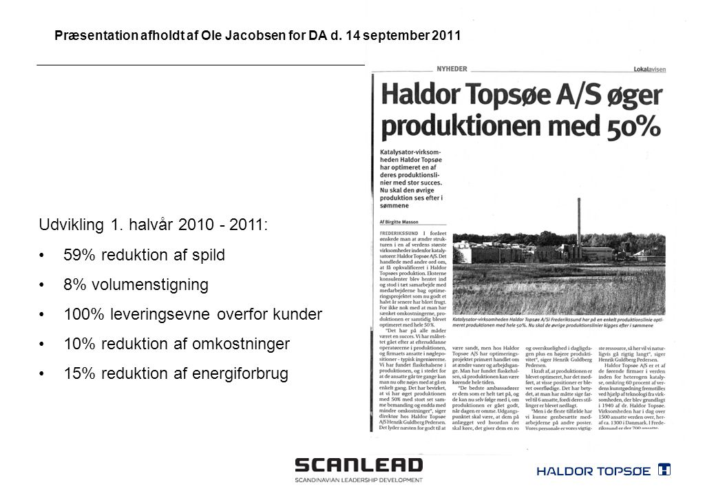 Præsentation afholdt af Ole Jacobsen for DA d. 14 september 2011