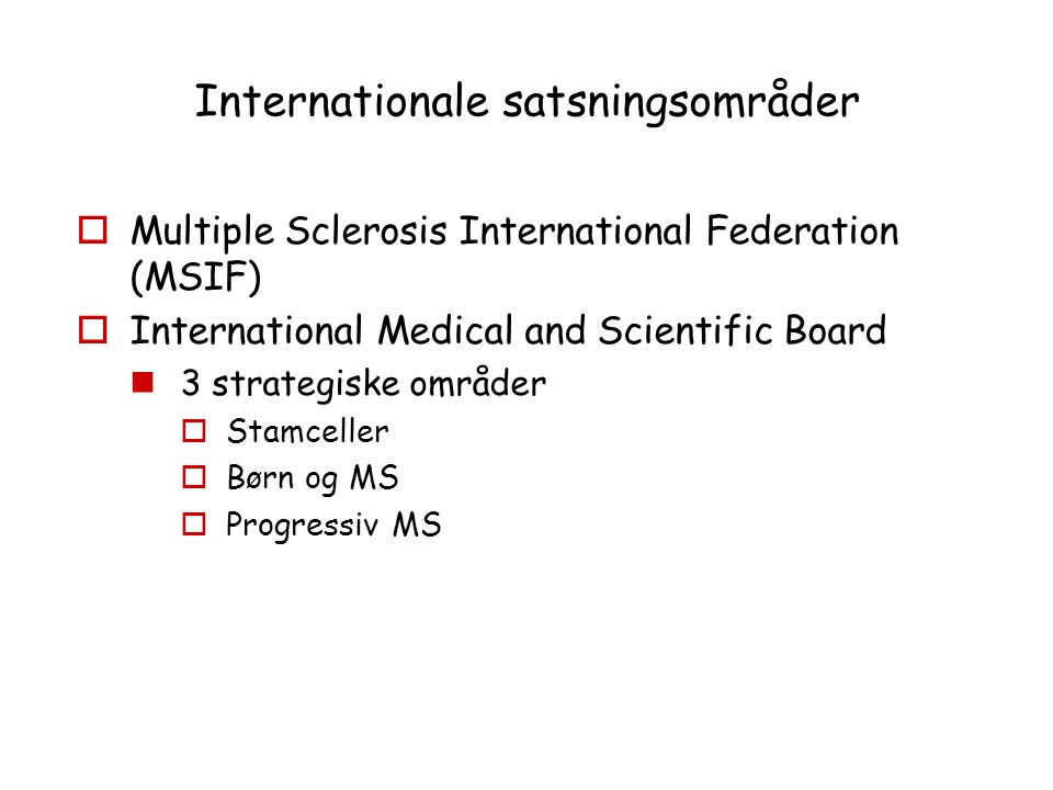 Internationale satsningsområder