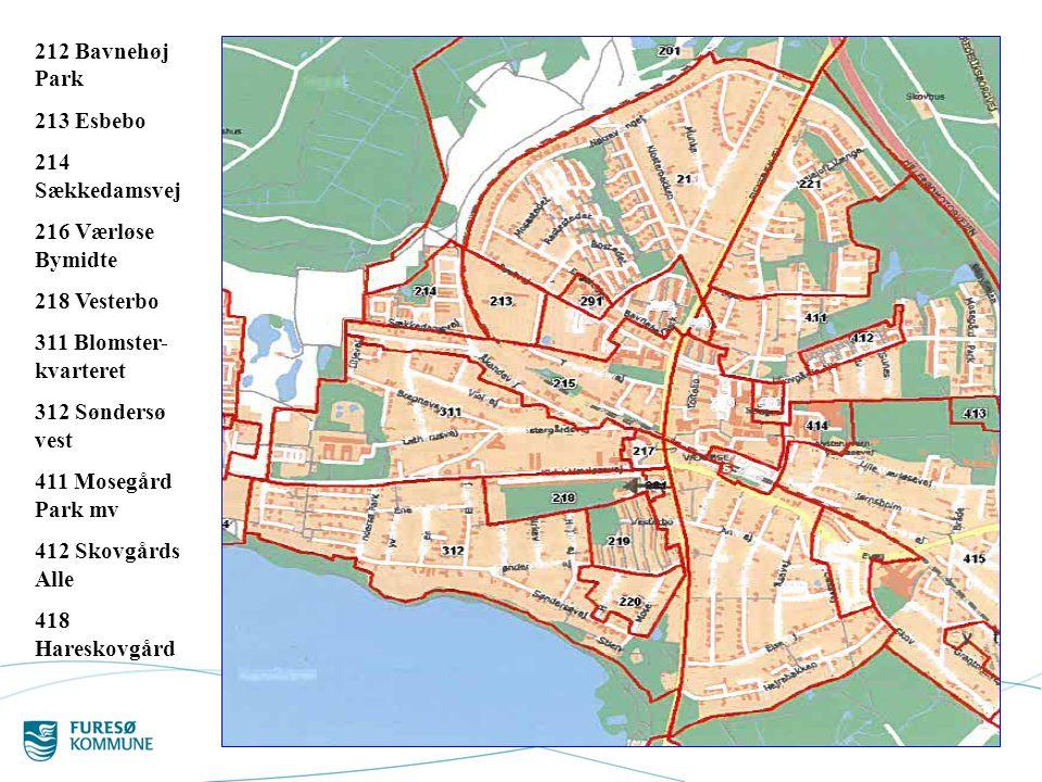 212 Bavnehøj Park 213 Esbebo. 214 Sækkedamsvej. 216 Værløse Bymidte. 218 Vesterbo. 311 Blomster-kvarteret.