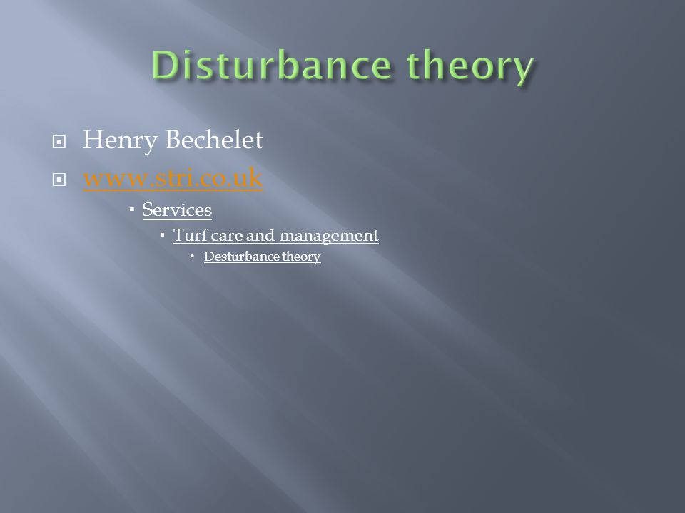 Disturbance theory Henry Bechelet www.stri.co.uk Services
