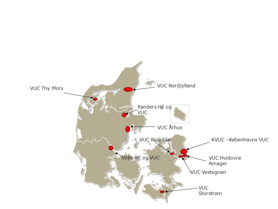VUC Nordjylland VUC Thy Mors. Randers HF og VUC. VUC Århus. VUC Roskilde. KVUC –Københavns VUC.