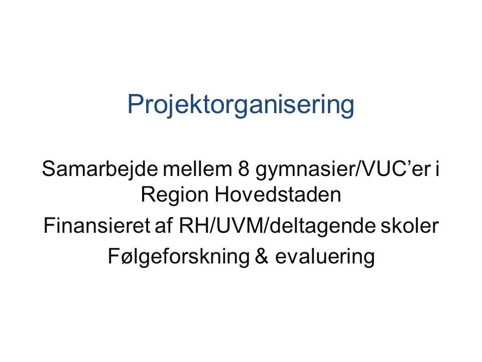 Projektorganisering Samarbejde mellem 8 gymnasier/VUC'er i Region Hovedstaden. Finansieret af RH/UVM/deltagende skoler.