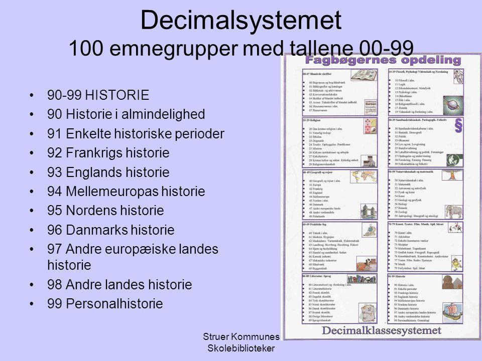 Decimalsystemet 100 emnegrupper med tallene 00-99