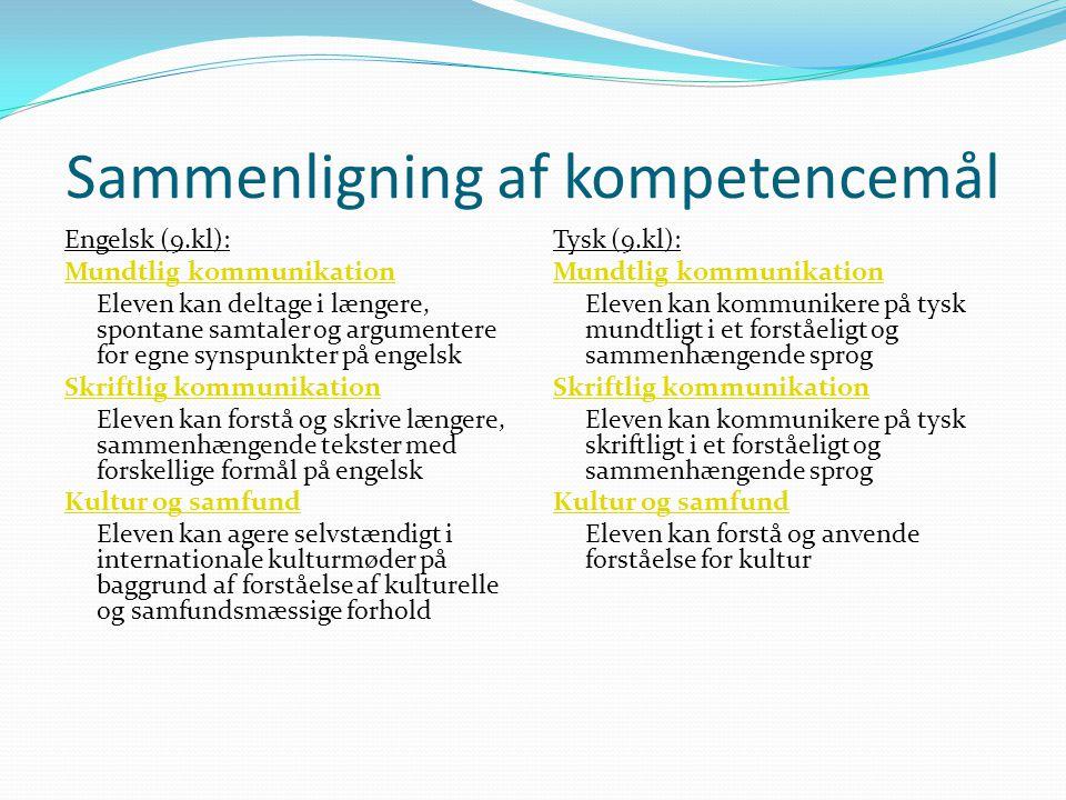 Sammenligning af kompetencemål