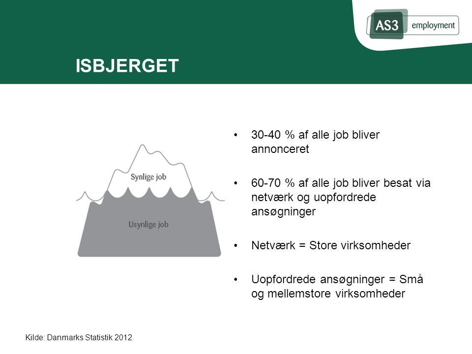 ISBJERGET 30-40 % af alle job bliver annonceret