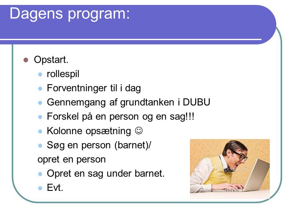 Dagens program: Opstart. rollespil Forventninger til i dag