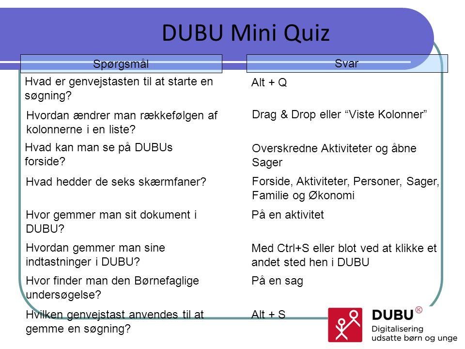DUBU Mini Quiz Spørgsmål Svar