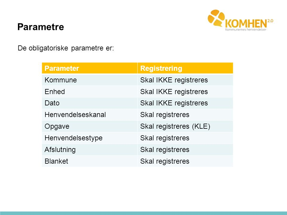 Parametre De obligatoriske parametre er: Parameter Registrering