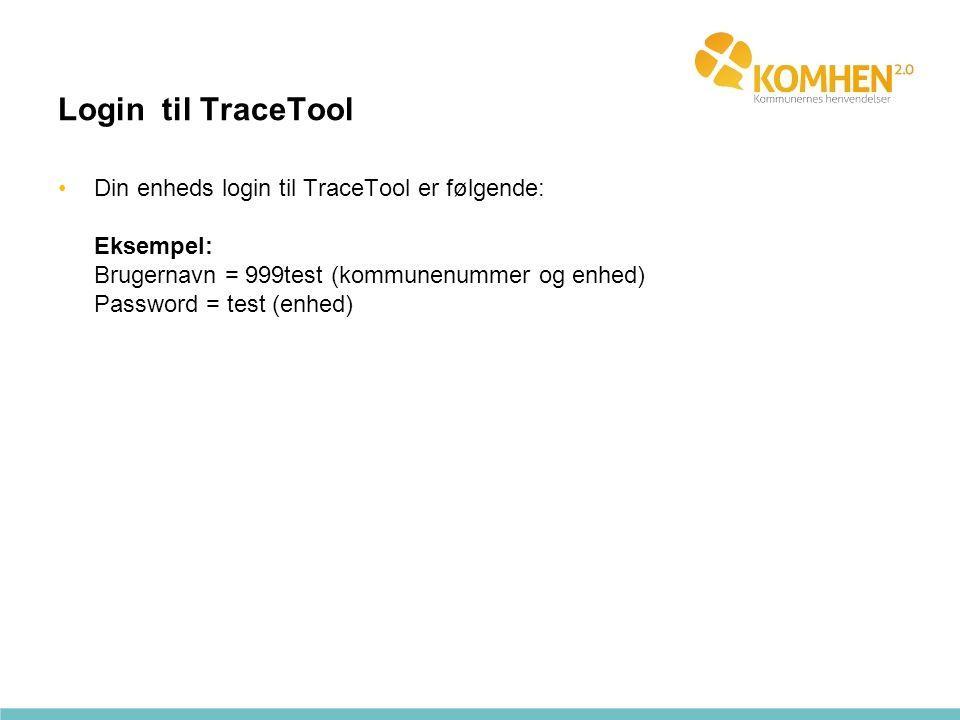 Login til TraceTool Din enheds login til TraceTool er følgende: Eksempel: Brugernavn = 999test (kommunenummer og enhed) Password = test (enhed)