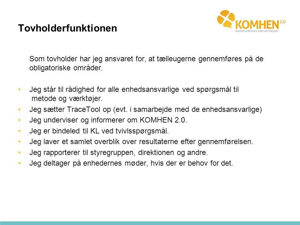Tovholderfunktionen Som tovholder har jeg ansvaret for, at tælleugerne gennemføres på de obligatoriske områder.