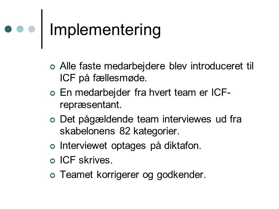 Implementering Alle faste medarbejdere blev introduceret til ICF på fællesmøde. En medarbejder fra hvert team er ICF-repræsentant.