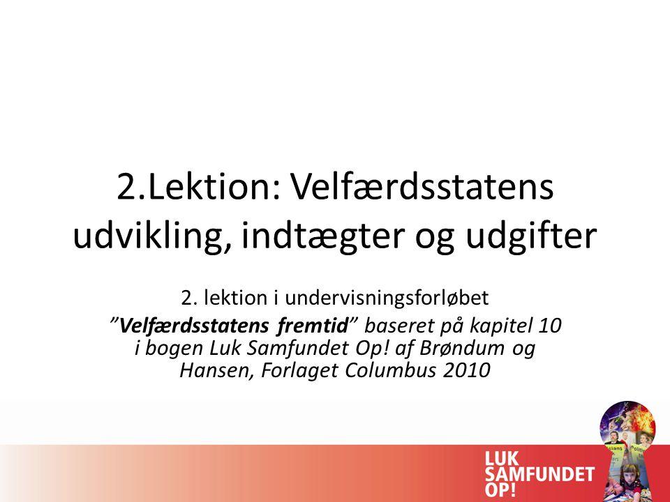2.Lektion: Velfærdsstatens udvikling, indtægter og udgifter
