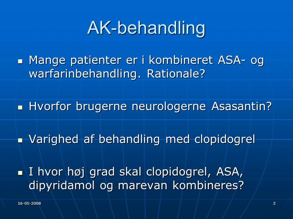 AK-behandling Mange patienter er i kombineret ASA- og warfarinbehandling. Rationale Hvorfor brugerne neurologerne Asasantin