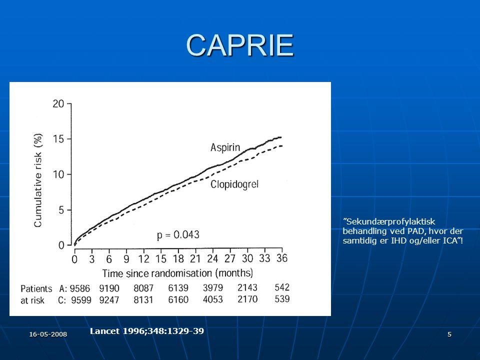 CAPRIE Sekundærprofylaktisk behandling ved PAD, hvor der samtidig er IHD og/eller ICA ! Lancet 1996;348:1329-39.