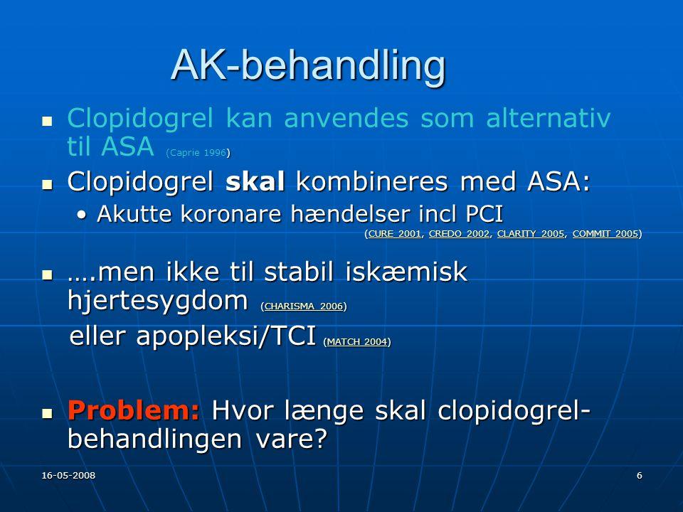 AK-behandling Clopidogrel kan anvendes som alternativ til ASA (Caprie 1996) Clopidogrel skal kombineres med ASA: