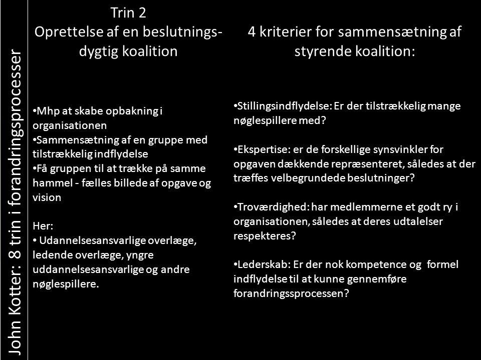 John Kotter: 8 trin i forandringsprocesser