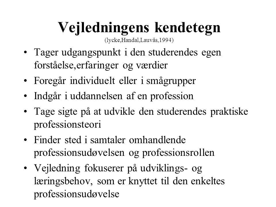 Vejledningens kendetegn (lycke,Handal,Lauvås,1994)