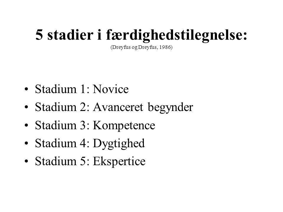 5 stadier i færdighedstilegnelse: (Dreyfus og Dreyfus, 1986)