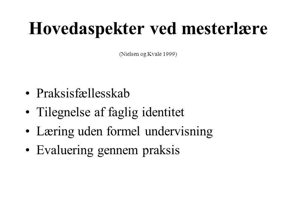 Hovedaspekter ved mesterlære (Nielsen og Kvale 1999)