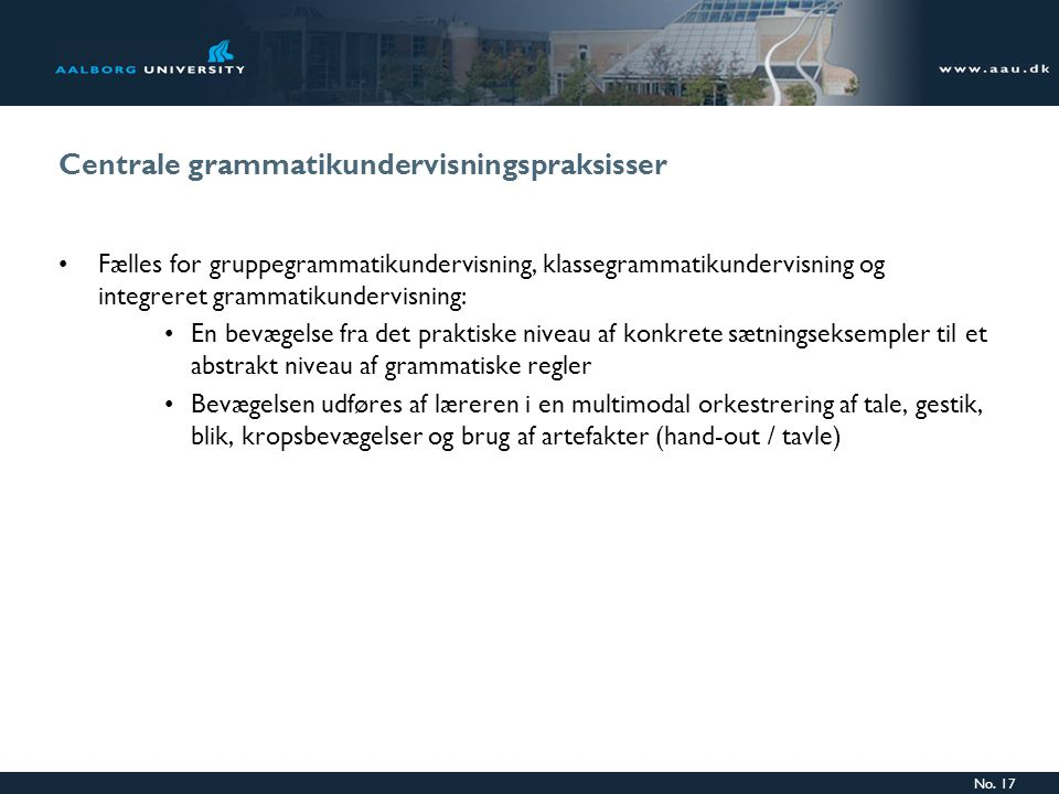 Centrale grammatikundervisningspraksisser
