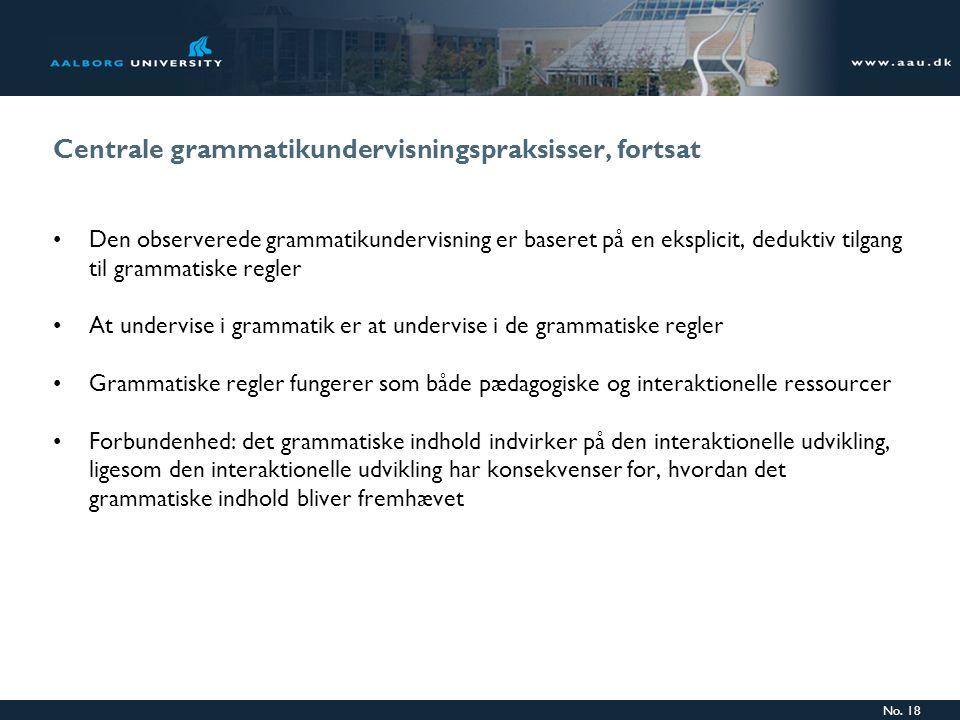 Centrale grammatikundervisningspraksisser, fortsat