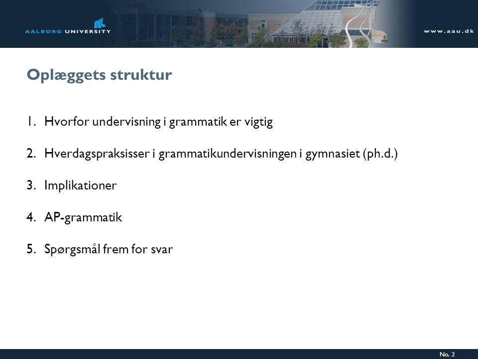 Oplæggets struktur Hvorfor undervisning i grammatik er vigtig