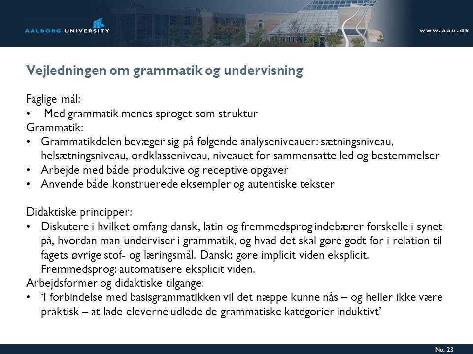 Vejledningen om grammatik og undervisning