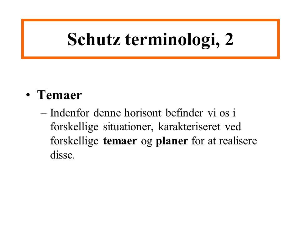 Schutz terminologi, 2 Temaer