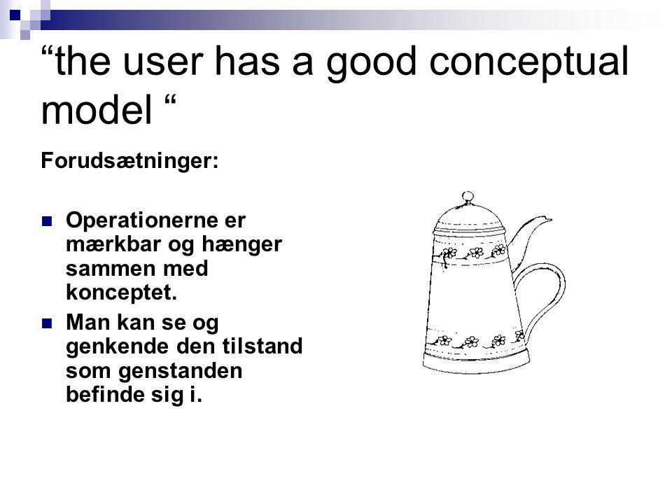 the user has a good conceptual model