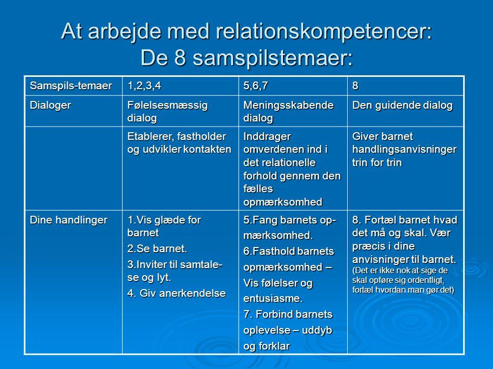 At arbejde med relationskompetencer: De 8 samspilstemaer: