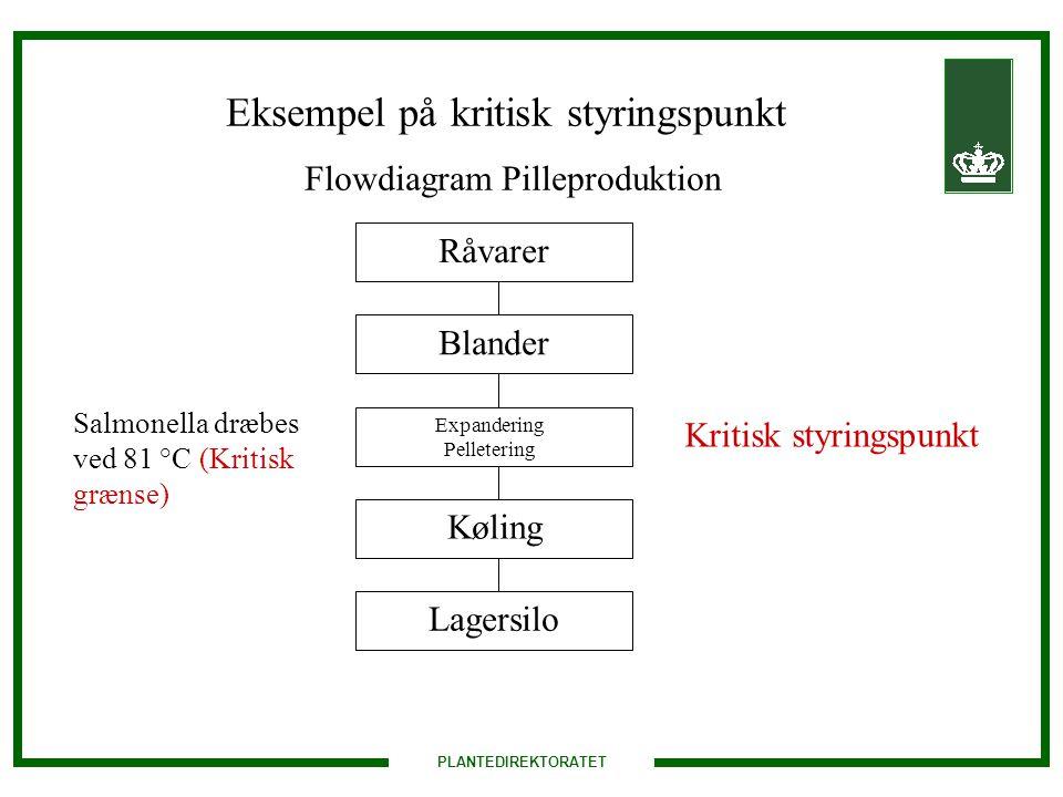 Eksempel på kritisk styringspunkt Flowdiagram Pilleproduktion