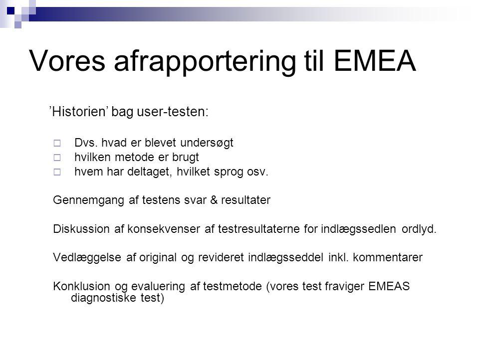 Vores afrapportering til EMEA