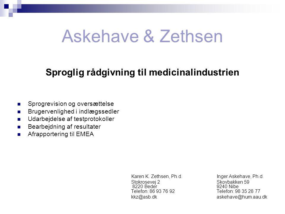 Sproglig rådgivning til medicinalindustrien