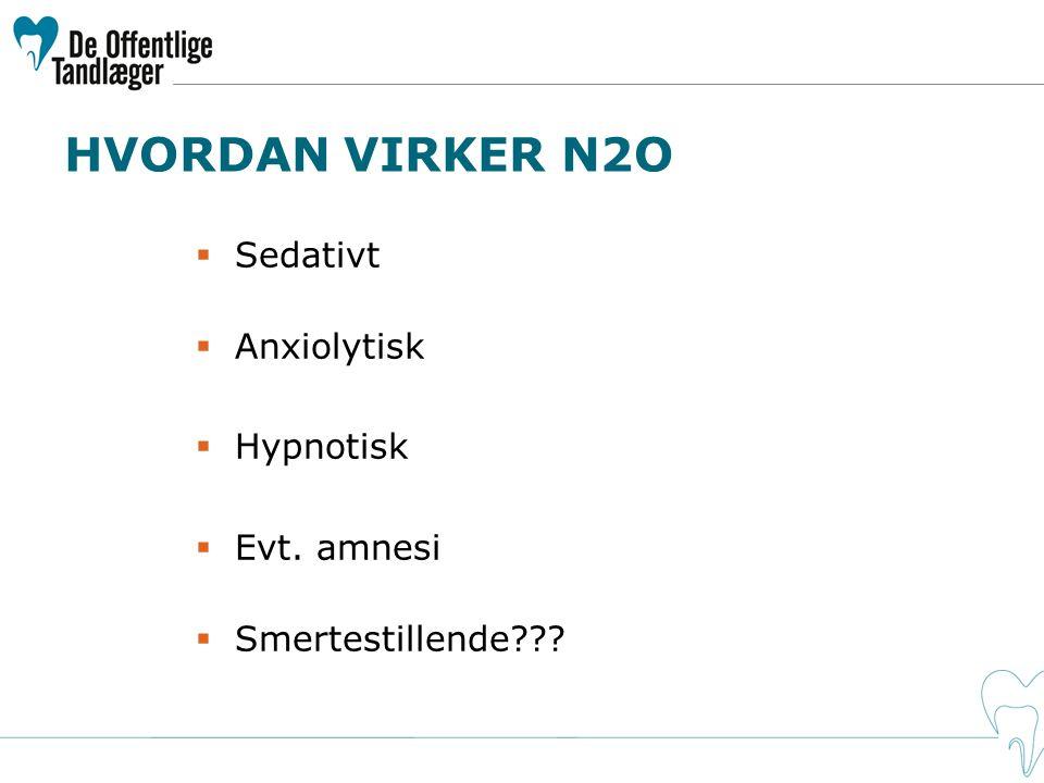 HVORDAN VIRKER N2O Sedativt Anxiolytisk Hypnotisk Evt. amnesi