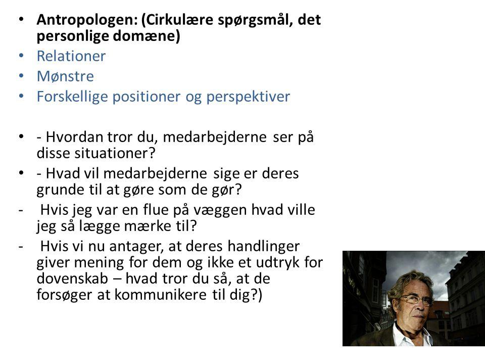 Antropologen: (Cirkulære spørgsmål, det personlige domæne)