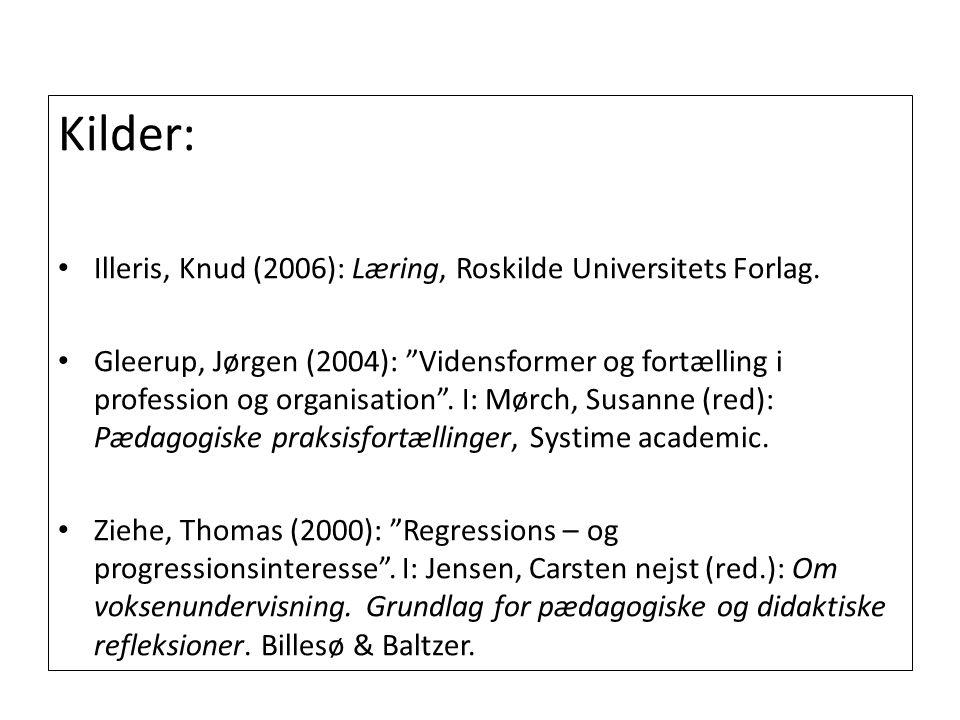 Kilder: Illeris, Knud (2006): Læring, Roskilde Universitets Forlag.