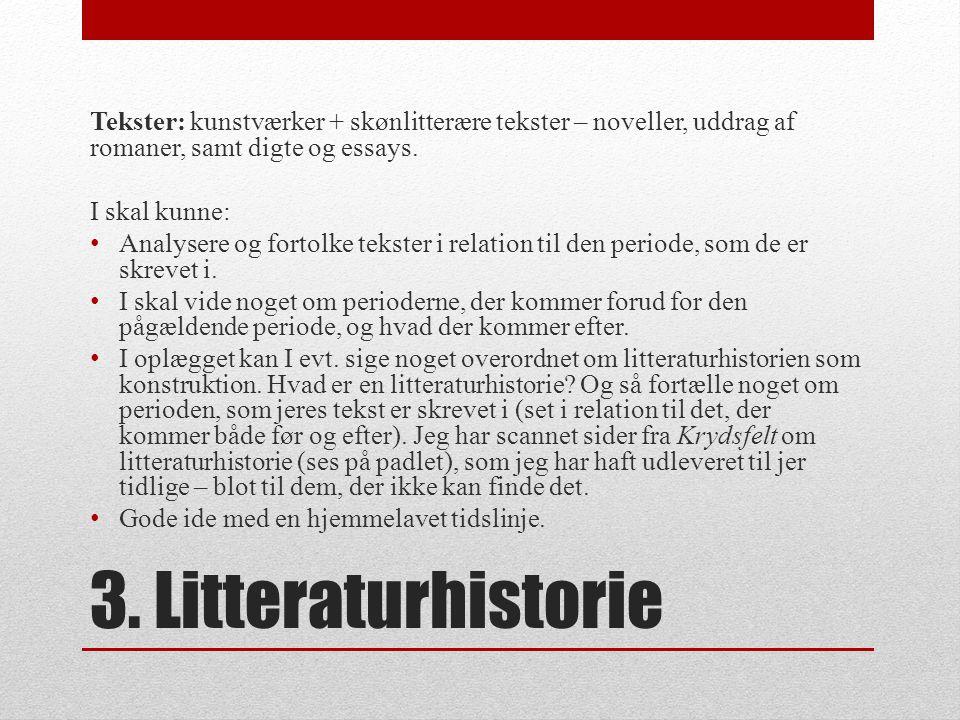 Tekster: kunstværker + skønlitterære tekster – noveller, uddrag af romaner, samt digte og essays.