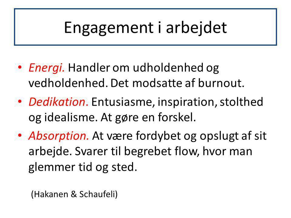Engagement i arbejdet Energi. Handler om udholdenhed og vedholdenhed. Det modsatte af burnout.