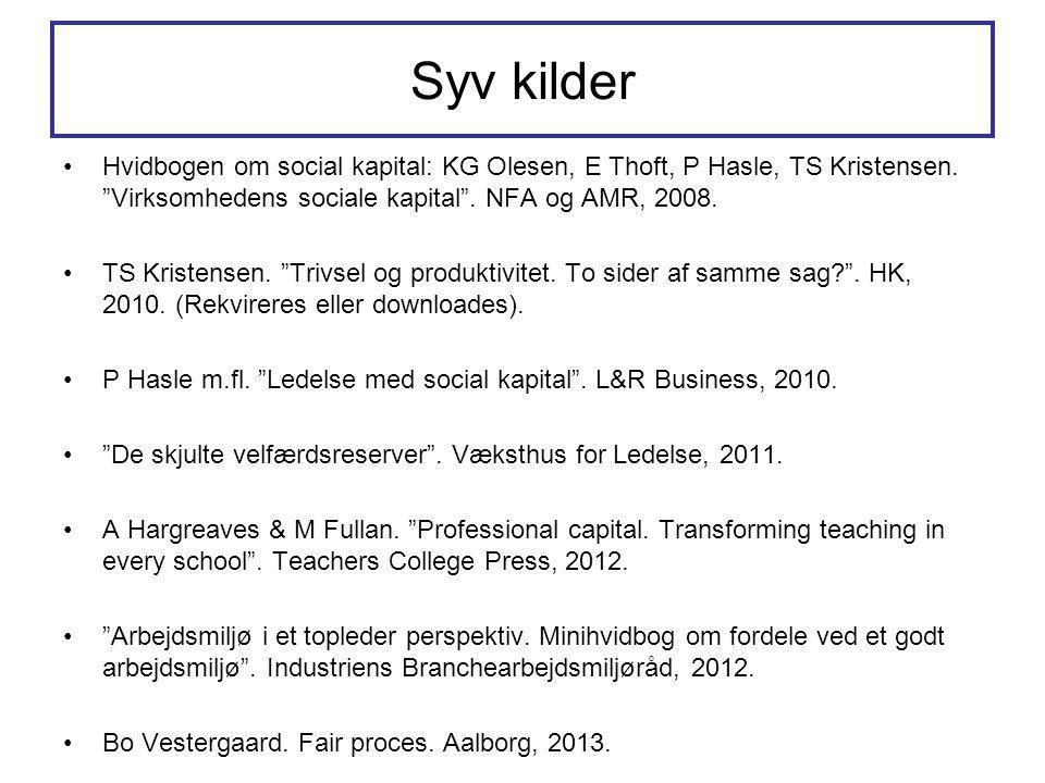 Syv kilder Hvidbogen om social kapital: KG Olesen, E Thoft, P Hasle, TS Kristensen. Virksomhedens sociale kapital . NFA og AMR, 2008.