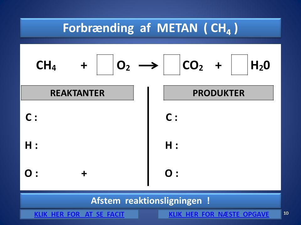 Forbrænding af METAN ( CH4 ) CH4 + O2 CO2 H20