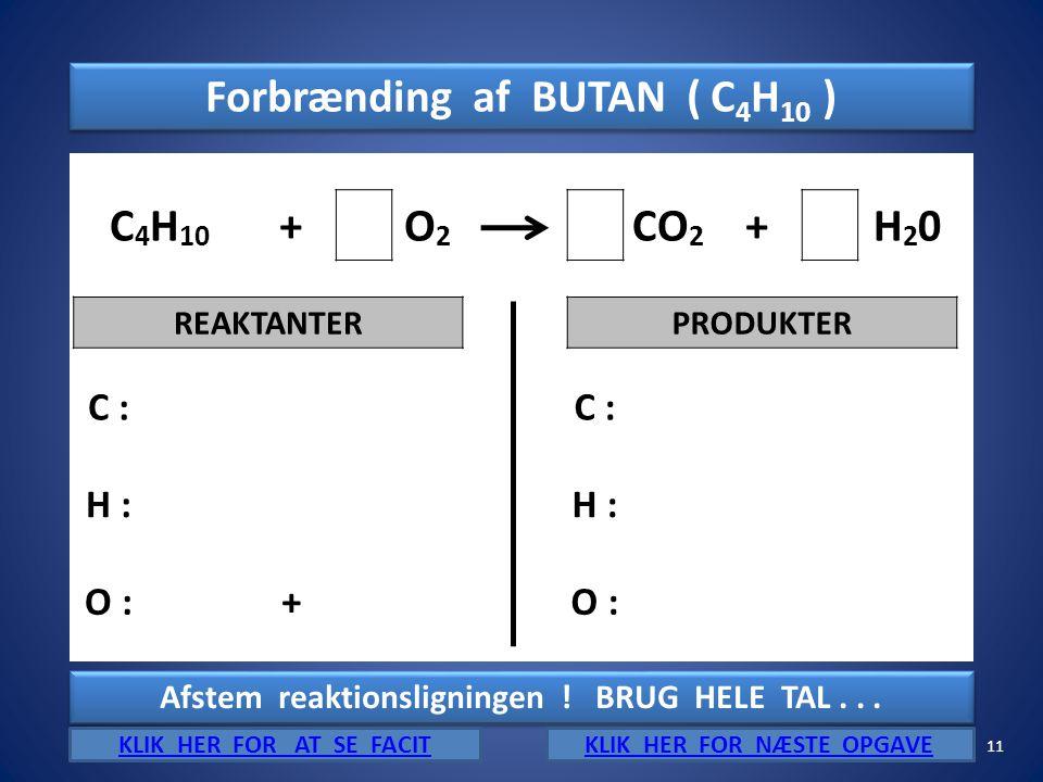 Forbrænding af BUTAN ( C4H10 ) C4H10 + O2 CO2 H20