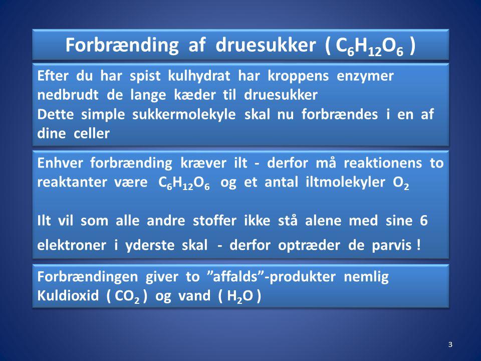 Forbrænding af druesukker ( C6H12O6 )